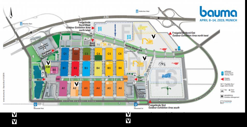 Der Geländeplan zeigt, wo Vemcon auf der bauma zu finden ist.